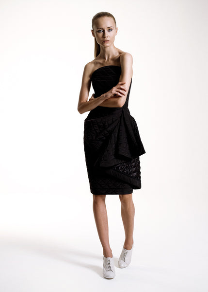 La Petite S***** SS10 quilted black dress with drape