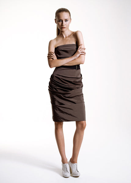 La Petite S***** SS10 bandeau dress in olive taffeta