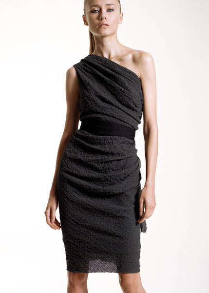 La Petite S***** SS10 anthracite one shoulder dress