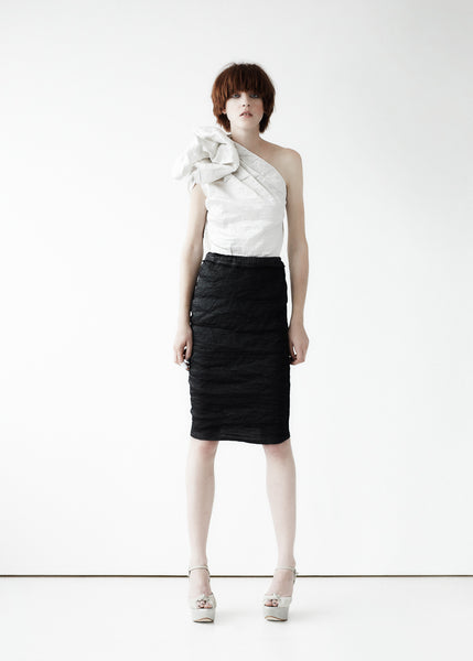 La Petite S***** SS11 black and white crinkle silk top and skirt