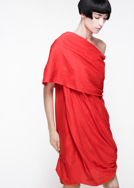 La Petite S***** SS11 red cotton voile shawl collar dress