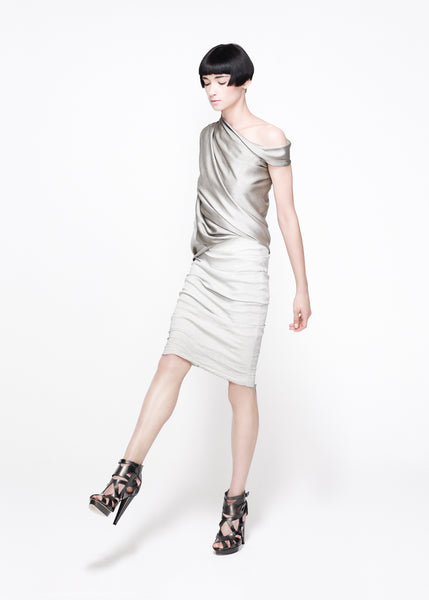 La Petite S***** SS11 satin draped top and linen skirt