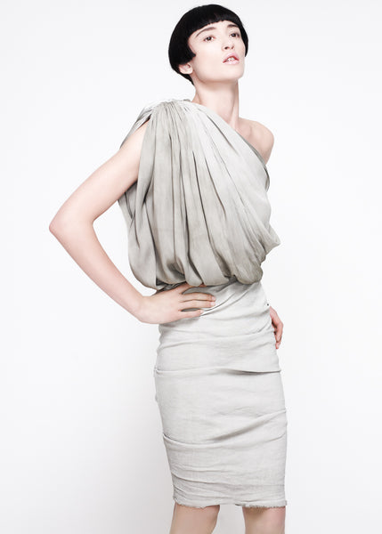 La Petite S***** SS11 mottled silk one shoulder top and linen skirt