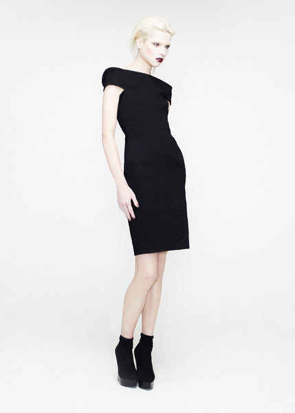 La Petite S***** SS12 black dress with fold shoulder details