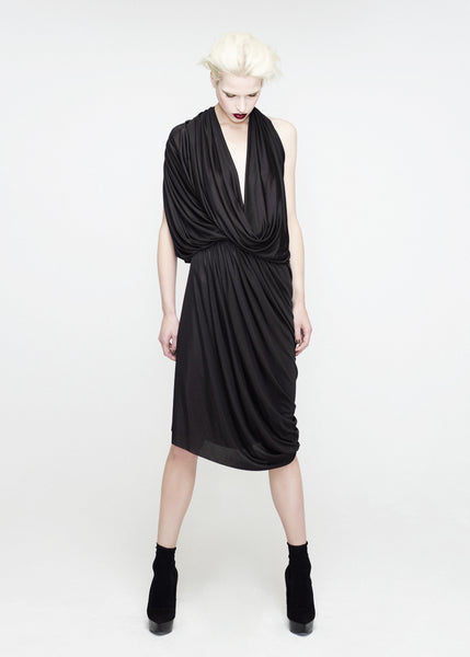 La Petite S***** SS12 black jersey draped dress with gathered waist