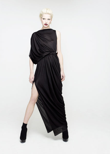 La Petite S***** SS12 maxi black jersey dress with gathered waist