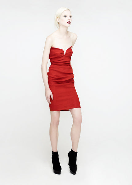La Petite S***** SS12 red bandeau dress with pleated skirt