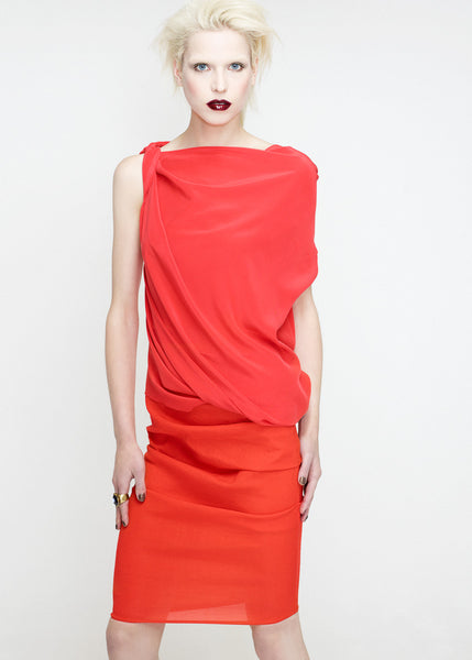 La Petite S***** SS12 coral silk crepe top with orange skirt