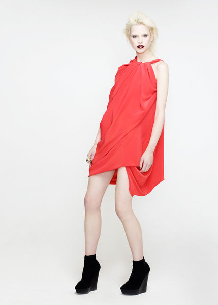 La Petite S***** SS12 silk crepe bright coral dress