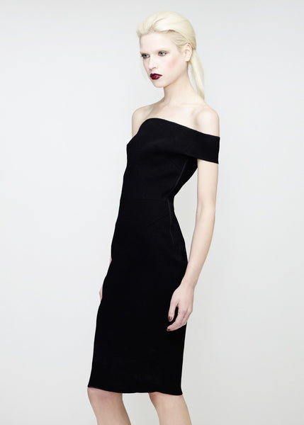 Off the shoulder dress in black by La Petite S***** SS12