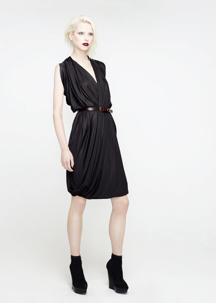 La Petite S***** SS12 black draped jersey dress