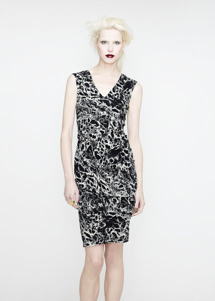 Black and white print v neck dress by La Petite S***** SS12