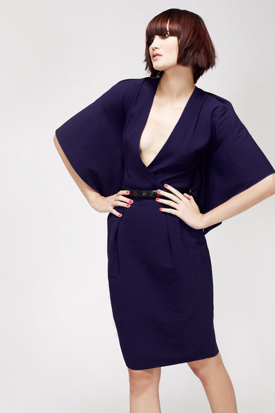 La Petite S***** SS13 indigo silk crepe dress with kimono sleeves