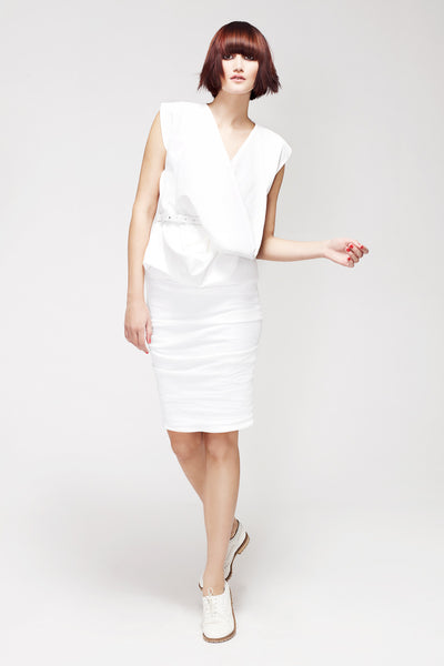La Petite S***** SS13 white linen cowl neck top and skirt