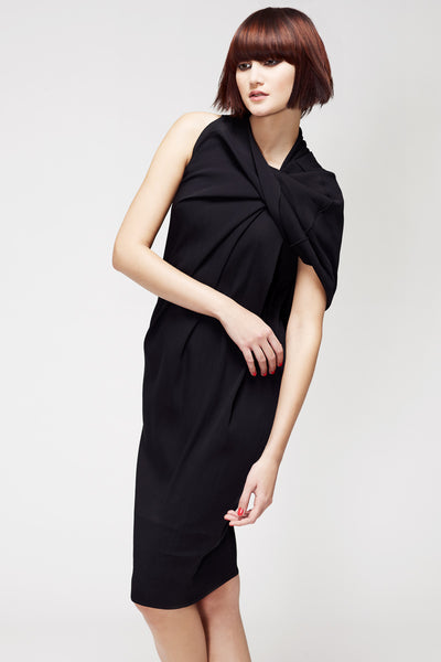 La Petite S***** SS13 silk crepe dress with draped shoulder detail