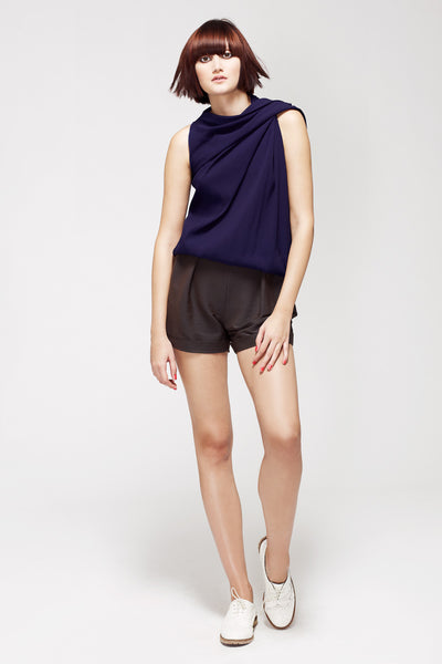 La Petite S***** SS13 draped shoulder top in indigo