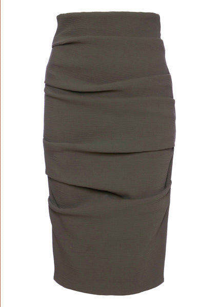 La Petite S pencil skirt in stretch wool - mink
