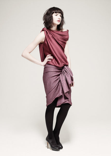 La Petite S***** AW10 raspberry satin top and lilac ruffle skirt