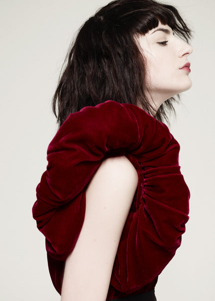 Red velvet dress with padded shoulder detail La Petite S***** AW10