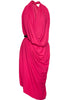 fuschia la petite s draped satin dress