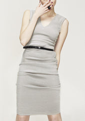 La petite S - v-neck vest dress in dove grey  la petite s*****