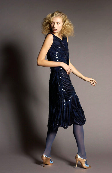 Navy slashed sequin dress by La petite S***** AW05