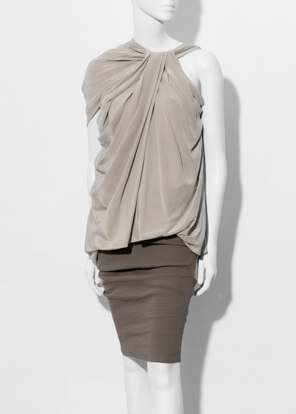 dove draped silk top by La Petite S*****