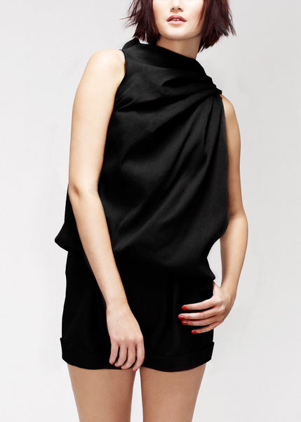 black draped top in silk
