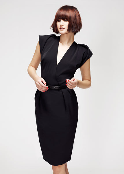 La Petite S***** SS13 black silk dress with fold shoulder details
