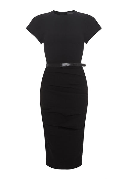 black linen fitted stretch dress La Petite S*****