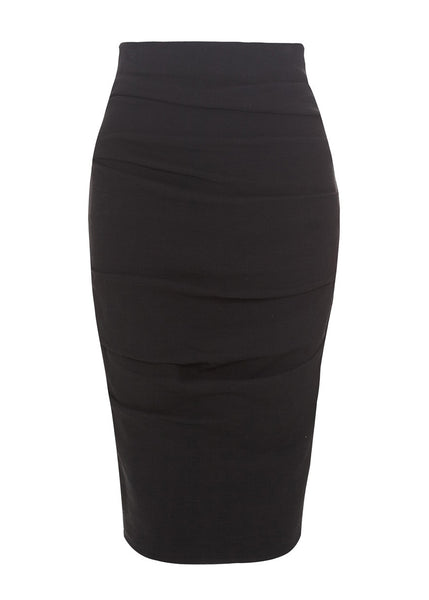black linen stretch skirt