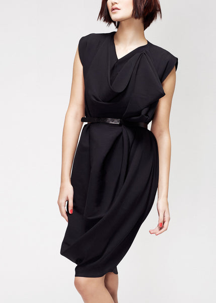 black shift dress with drapes
