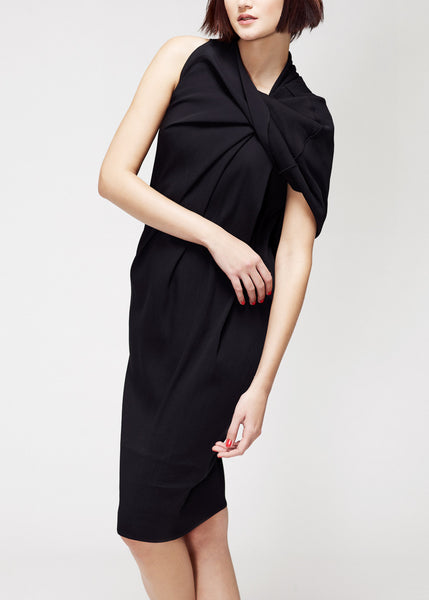 black silk dress with fold detail by La Petite S