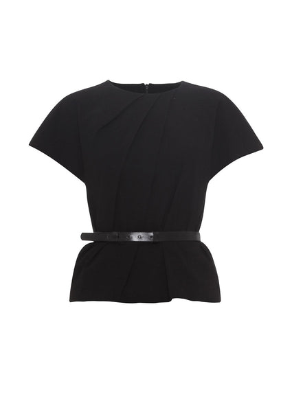 black stretch linen top with belt La Petite S*****