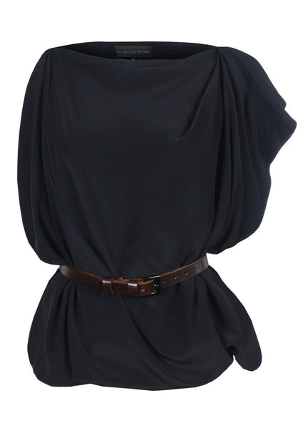 La petite s belted sack top in black silk