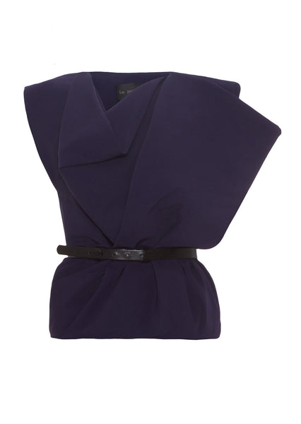 indigo silk crepe top with belt by La Petite S*****