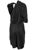 draped dress in black chocolate fluid jersey by la petite s