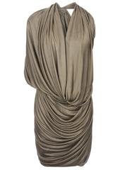 La Petite S Jersey draped dress in clay la petite s*****
