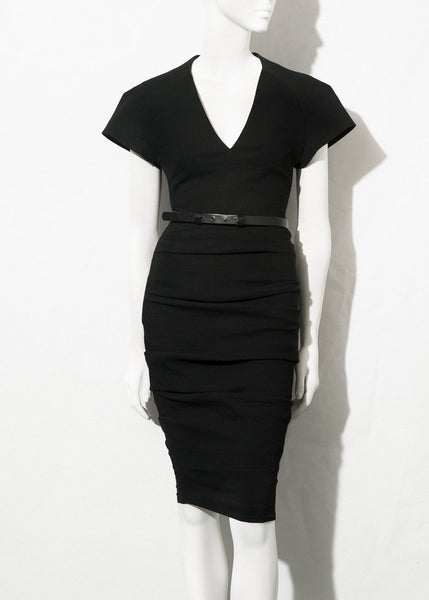 black V-neck dress with cap sleeves by La Petite S*****