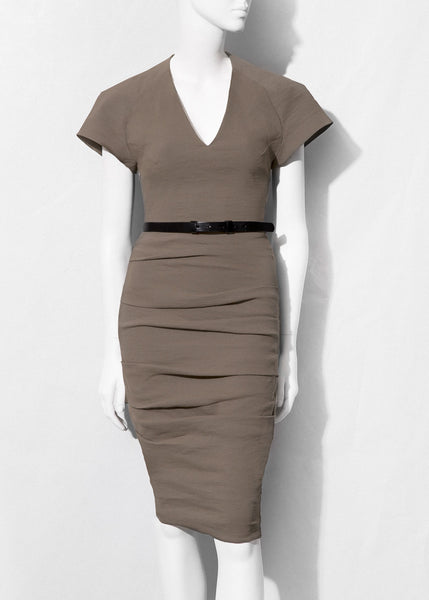sage La Petite S cap sleeve dress with v-neckline