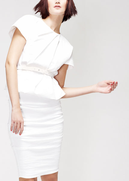 white linen top with pleat neckline and belt