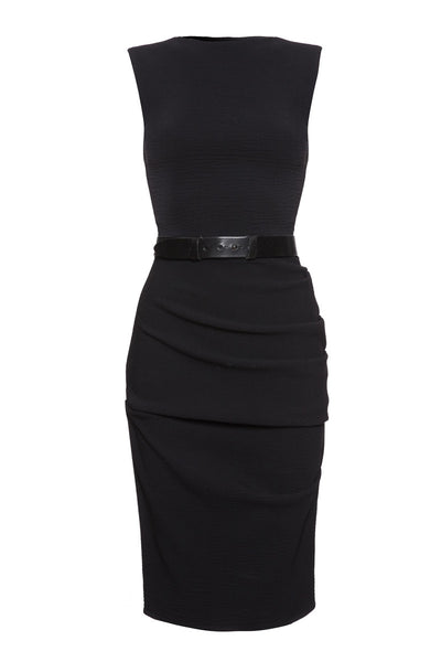 La Petite S stretch wool vest dress in black