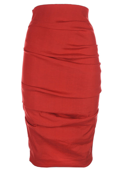 La Petite S stretch linen pencil skirt in tomato red