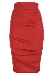 La Petite S stretch linen pencil skirt in tomato red la petite s*****