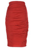 stretch linen pencil skirt in tomato red by la petite s