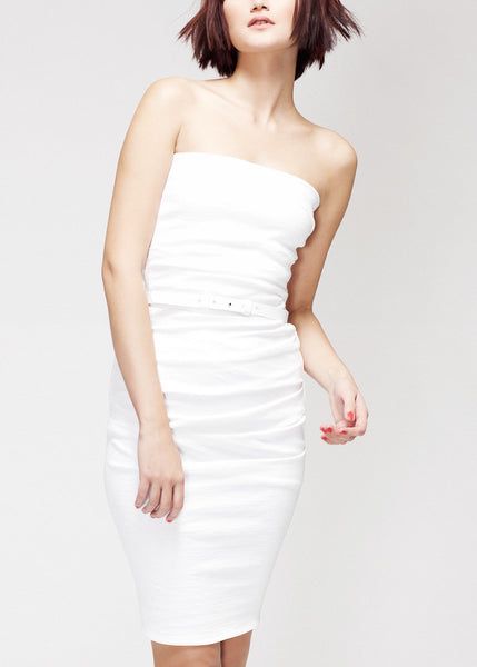 white La Petite S***** bandeau dress with belt