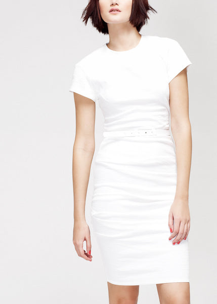white belted linen blend dress by La Petite S*****