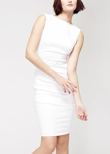 white La Petite S***** dress in stretch linen with belt