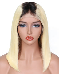 Remy Human Hair Straight Short Bob 13x4 Lace Front Wigs Ombre T1B/613 Color