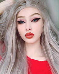Long Natural Wavy Middle Part Synthetic Replacement Hair Grey Wigs Silver Platinum Blonde Lace Front Wig Heat Resistant Hair 24inch
